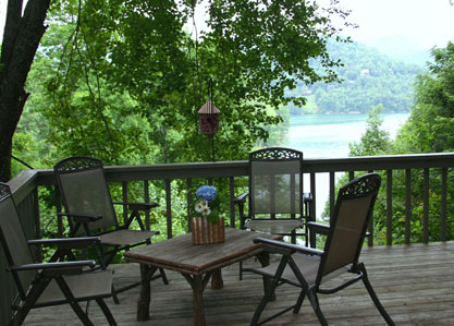 blue ridge cabin rentals - Upper Deck with View of Lake Glenville