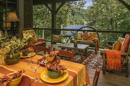 Lake Glenville NC - Covered Porch for Dining