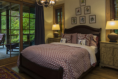 Queen Bedroom with sitting porch, private bath and lake view